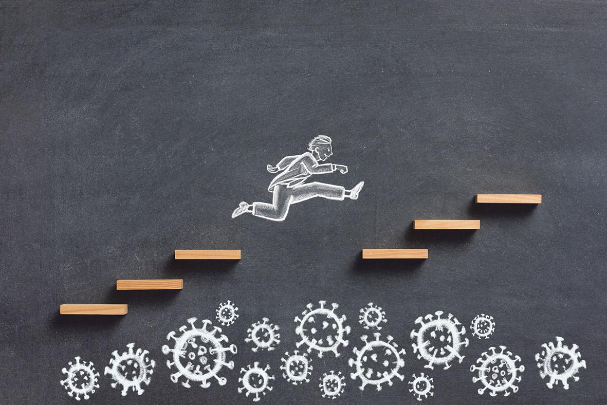 gezeichnetes Männchen, was über Stufen rennt, unter ihm sind Viren gezeichnet.