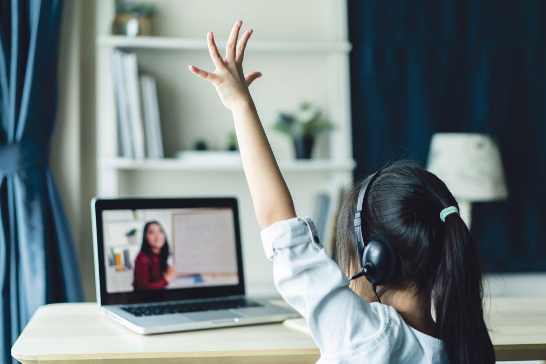 Ein Kind nimmt an einer digitalen Lehrstunde teil.