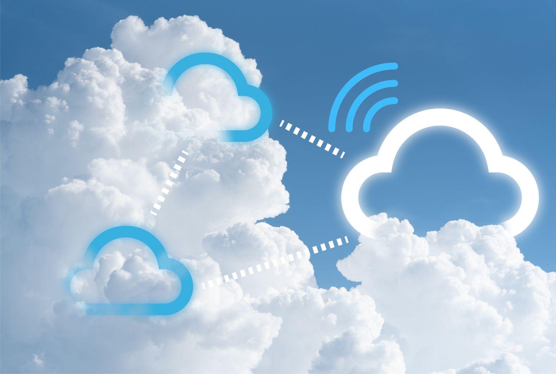 Cloud-Symbole zwischen echten Wolken