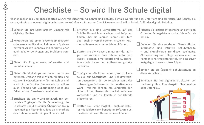 Grafik: Checkliste für eine digitale Schule